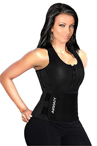 YIANNA Sweat Sauna Suit for Women Neoprene Waist Trainer Vest Zipper Body Shaper with Adjustable Tank Top, YA8012-Black-New-3XL