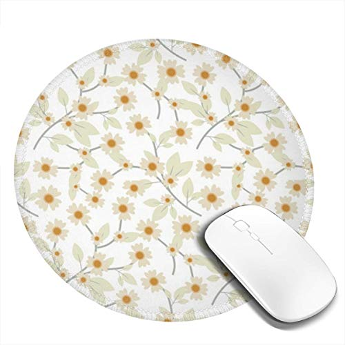 Mouse Pad Pressed Yellow Wildflowers Gaming Mousepad Non-Slip Rubber Gaming Mouse Pad Round Mouse Pads with Stitched Edge