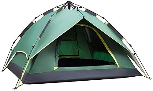 LAZ Outdoor Tent Pull Rope Version, Wild 3-4 People Camping Rainproof Camping Automatic Tent,Built-in Roller Skating,Beach Cabana Instant Tent for Family Camping (Color : Green)