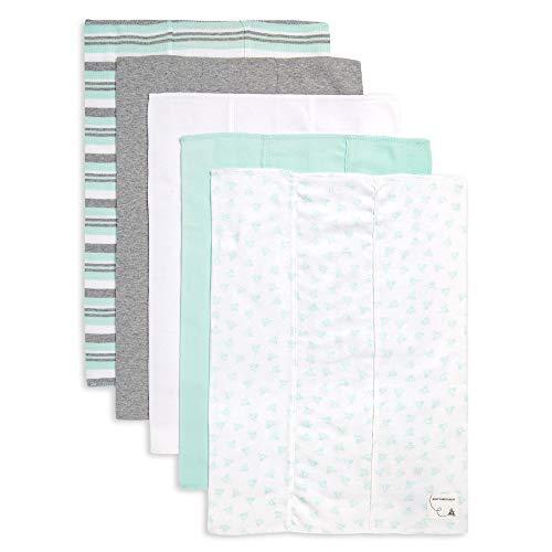 Burt's Bees Baby - Burp Cloths, 5-Pack Extra Absorbent 100% Organic Cotton Burp Cloths (Seaglass Green Prints)