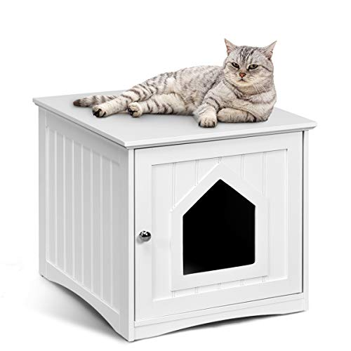 Tangkula Nightstand Pet House, Decorative Cat House, Cat Home Nightstand, Litter Box Furniture, Indoor Pet Crate, Cat Washroom, Litter Box Enclosure (White)