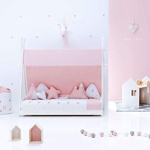ALONDRA – Camita cabaña HOMY Montessori infantil para niños 70x140 completa con textiles. Incluye: toldo, nórdico, estructura casita tipi con somier, textiles INDIANA ROSA 112, sin colchón.