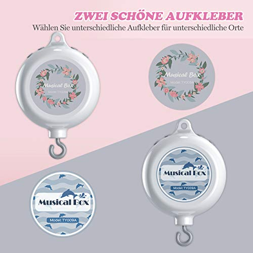 【Neue Version】TopElek Elektrische Baby Spieluhr mit 128 MB Micro-SD-Speicherkarte(Erweiterbar bis 2 GB) für Ihr Babymobile, 12 Melodien inklusive. - 4