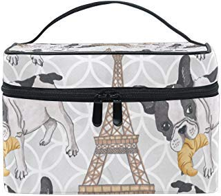 KUWT French Bulldog Croissant in Eiffel Tower Women Travel Cosmetic Bag Portable Makeup Train Case Toiletry Bag Beauty Organizer