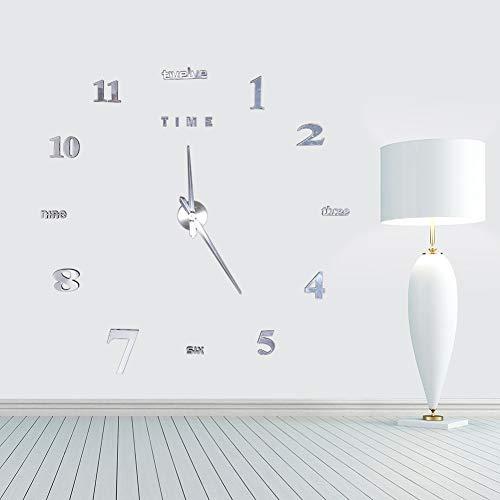Pegatinas de Reloj de Pared Reloj sin Marco de Bricolaje Silencioso 3D Reloj de Bricolaje Grande Moderno Pegatinas de Pared Efecto de Espejo Decoración extraíble para el hogar y la Oficina