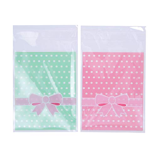 NUOMI 200Pcs Self Adhesive Cellophane Bags, Resealable Cookie Treat Bags for Gift Giving, 3.9x3.1 Poly Bags Good for Bakery Candle Soap Candy, Pink&Green Polka Dots with Bow Decoration