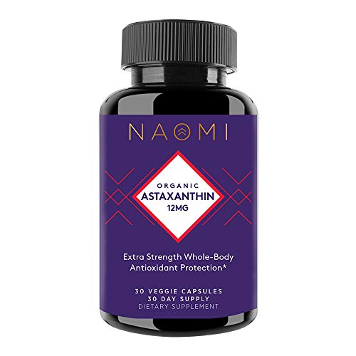 NAOMI Organic Astaxanthin Triple Strength 12 mg Joint, Eye, Skin, and Brain Supplement for Immune Support, Sports Nutrition and Muscle Recovery Nutritional Supplements - 30 Veggie Capsules, Non-GMO