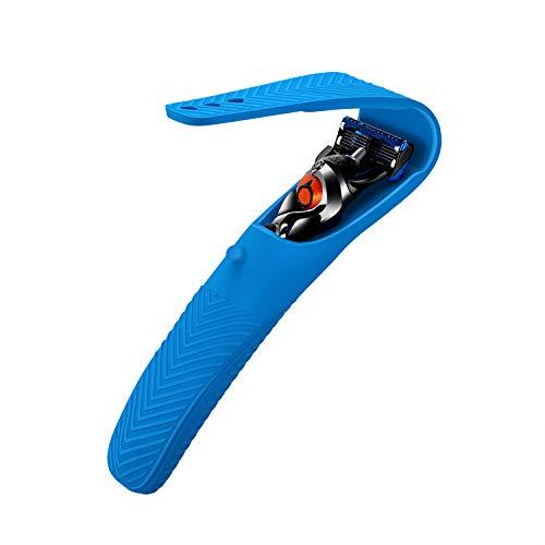 Custodia per Gillette Fusion 5 ProGlide/Mach 3 / Blue 3 Razor da uomo, Cover protettiva silicone Case da viaggio(Blue)
