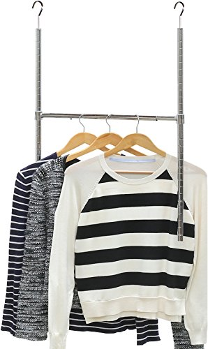 Simple Houseware Adjustable Closet Hanging Rod, Chrome