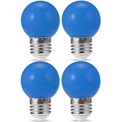 4 Pack G14 LED Blue Light Bulb 1W 120V E26 Base Small Night Light Blue Bulbs for Bedroom, String Lights, Window Candle, Table Lamp, Kitchen, Pendant Fixtures, Dinning Room, G14 LED Light Bulb Globe