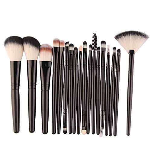 Cadialan Juego de brochas de maquillaje Set de pinceles de maquillaje en forma de abanico, sombra de ojos, cepillo de labios, herramientas de belleza profesional de brochas Set 18 piezas (negro)