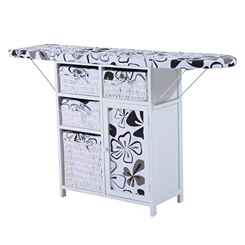 HOMCOM Drop Leaf Ironing Board with Shelves and Storage Boxes - Hawaiian Flowers