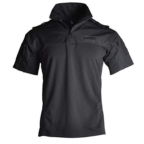 CHENGTAO Camisa de Camuflaje Militar táctica Camisas de Manga Corta de los Hombres del Ejército Solider Ciclismo Uniforme Traje de Combate T Shirts Training (Color : Black, Size : 3XL.)