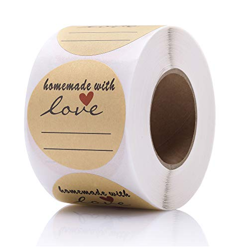 2' Round Kraft Homemade with Love Sticker with Lines for Writing, Black Font and Red Heart Canning Labels, 500 Labels per roll