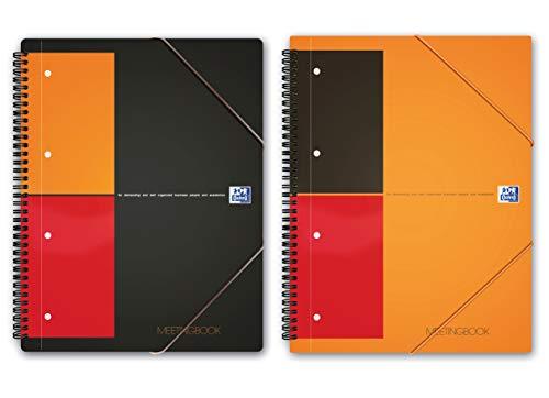2 x Oxford Intenational Meetingbook A4 als Lineatur kariert und liniert, Schreibblock mit 80 Blatt gelocht 2 in 1 Collegeblock und Gummizugmappe