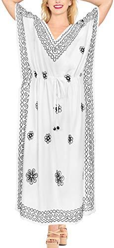 LA LEELA Frauen Damen Rayon Kaftan Tunika Bestickt Kimono freie Größe Lange Maxi Party Kleid für Loungewear Urlaub Nachtwäsche Strand jeden Tag Kleider DE Größe: 42 (L) - 50 (3XL) Weiß_P279