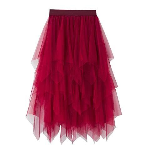 Falda de tul de color sólido Irregular falda de malla de tul elástico, rosso, Talla única