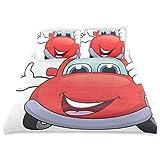 Juego de Funda nórdica Cars Cartoon Red Vehicle Happy Print Juego de Cama Decorativo de 3 Piezas con 2 Fundas de Almohada Cuidado fácil Antialérgico Suave Suave