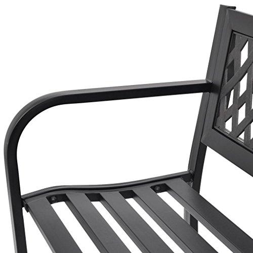 vidaXL Panchina da Giardino Esterno per 2 Persone Nera in Acciaio e PVC Panca