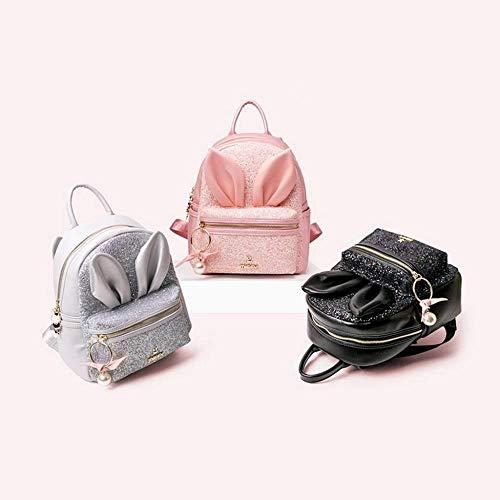 HONGYU Miffy shoulder bag female 2019 new Korean sequins cute cartoon bag cute mini rabbit ear student backpack (Color : Gray 23x11x26cm)