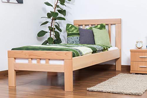 Einzelbett'Easy Premium Line' K8, Buche Vollholz massiv natur - Maße: 90 x 190 cm
