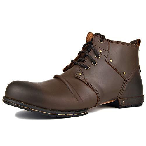 MERRYHE Chaussures à Lacets pour Hommes en Cuir Véritable Vintage Grandes Tailles Botte Martin Bottes De L'armée Tactiques du Désert Militaires,Brown-US7.5/EU40