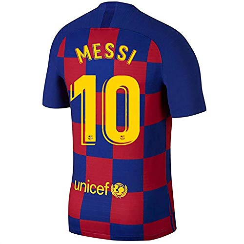 Messi Barcelona Jersey #10 Soccer T Shirt 2019-2020 Season Soccer Shirt fc Shirt for Men (XL, Messi-Home)