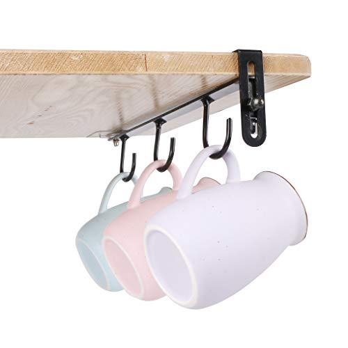 Fvstar 4pcs Mugs Holder Under Cabinet Coffee Mugs Rack with 3 Hooks Tea Cups Hanger Under Shelf for Home Kitchen Coffee Bar 4 Black