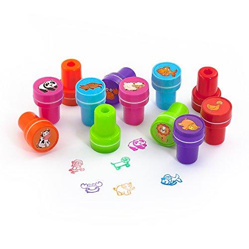 Oblique-Unique® - Stempelset Tiere 12 Stück - Kinder Stempel - Selbstfärbend