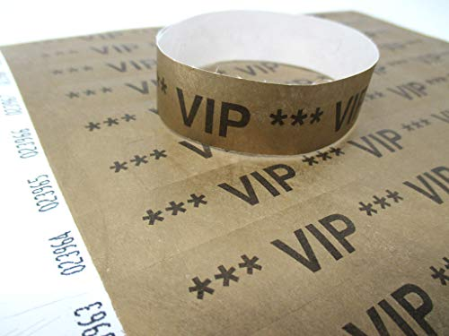 Twist4 50x / 100x / 250x / 500x /1000x Tyvek Einlassbänder Kontrollbänder in bunten Farben: Eintrittsbänder Partybänder Partybändchen Einlassbänder Securebänder aus Tyvek (100 Stück, VIP Gold)