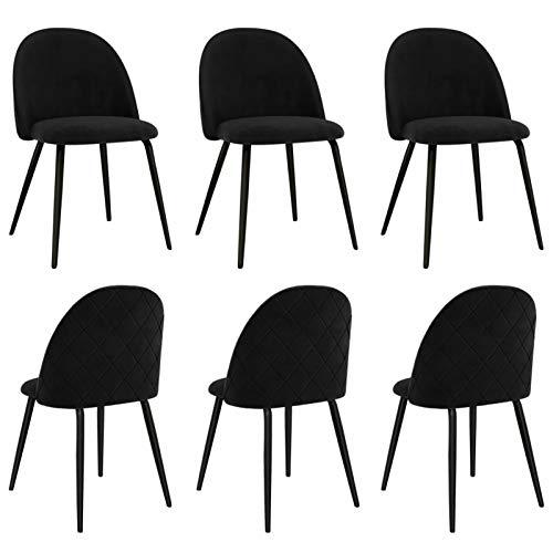 Tidyard Sillas de Comedor 6 Unidades Sillas de Salón Cocina Silla de Escritorio Moderno Tela Negra 47 x 53,5 x 78 cm