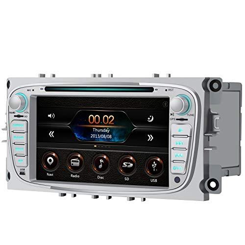 AWESAFE Radio Coche 7 Pulgadas para Ford con Pantalla Táctil 2 DIN, Autoradio de Ford con Bluetooth/GPS/FM/RDS/CD DVD/USB/SD, Admite Mandos Volante, Mirrorlink y Aparcamiento (Plata)