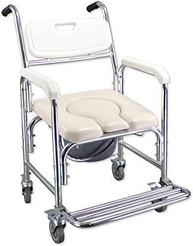 N/Z Einrichtungsgegenstände Dusche Aluminium Kommode Stuhl Mobile Toilette Komfortkissen und Rückenlehne Universal Caster Mit Bremse Für Kommode Stuhl 93 (Farbe: Ushape Größe: Highsection)