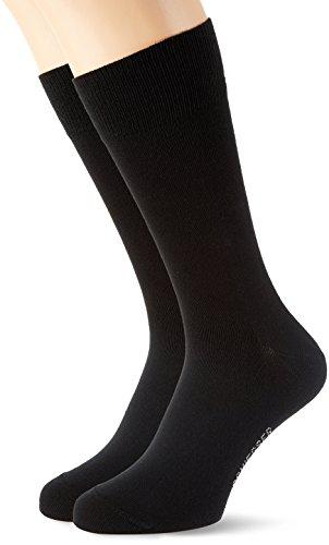Schiesser Herren Herrensocken (2PACK) Socken, Schwarz (Schwarz 000), 39-42 (2er Pack)