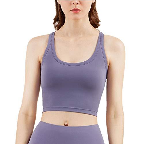 Cwang Sujetador de Encaje Sexy Sujetador Acolchado Desmontable Ropa Interior Sexy con Cuello en V,púrpura,L