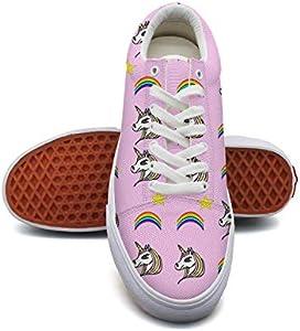 Girlmini Unicorn Rainbow Canvas Shoes Low-Cut Straps Unique Sneakers Suitable for Walking