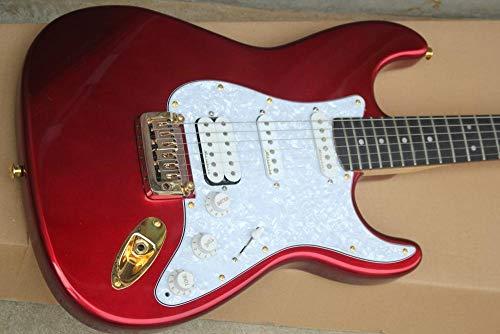 YYYSHOPP Guitars & Gear Guitarra eléctrica roja con hardware de oro blanco guitarra acústica cuerda...
