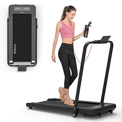 BiFanuo 2 in 1 Folding Treadmill, Smart Walking Running Machine with Bluetooth Audio Speakers, Installation-Free,Under Desk Treadmill for Home Office Gym Cardio Fitness(Black)