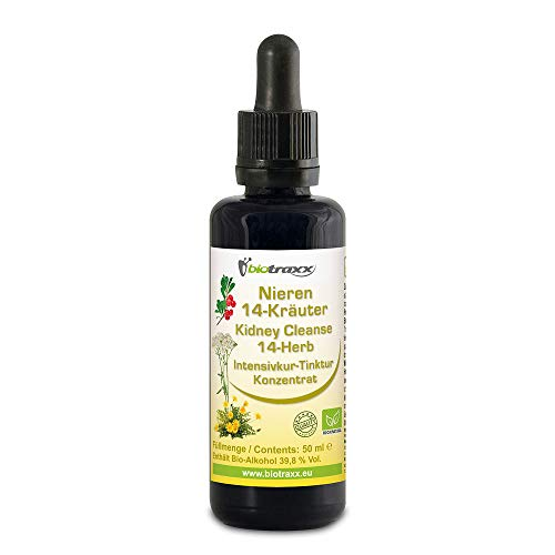 Biotraxx Nieren 14 Kräuter Intensivkur Konzentrat, 50 ml, Revitalisierung, Reinigung und Stärkung von Nieren & Blase