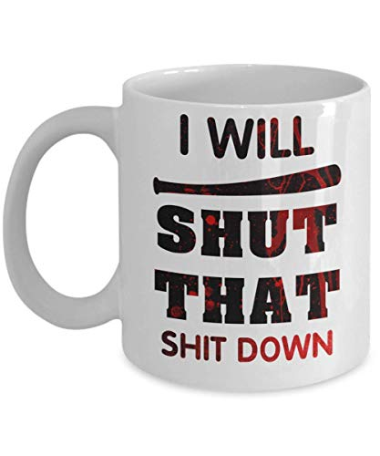 N\A I Will Shut Down Walking Dead Merchandise Negan Lucille Rick Grimes Daryl Glenn Ezekiel Taza de café, Divertida, Taza, té, Regalo para Navidad, Padre