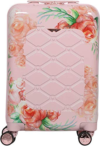 Aerolite PCF815 55cm Polycarbonate Hard Shell 4 Wheel Travel Carry On Hand Cabin Luggage Suitcase, White Pink Rose Floral