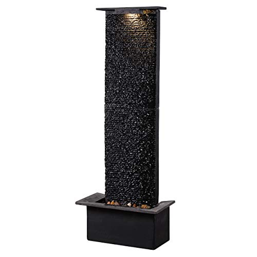 Kenroy Home 51035BLSL Alluvium Indoor/Outdoor Floor Fountain with Light, 48 Inch Height, Natural Black Slate