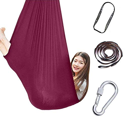 Indoor Swing For Kids Room Durable Calming Cuddle Therapy Hammock Chair Autistic Autism ADHD And Aspergers Children Up To 440 Lbs (Color : Wine red, Size : 100x280cm/39x110in)