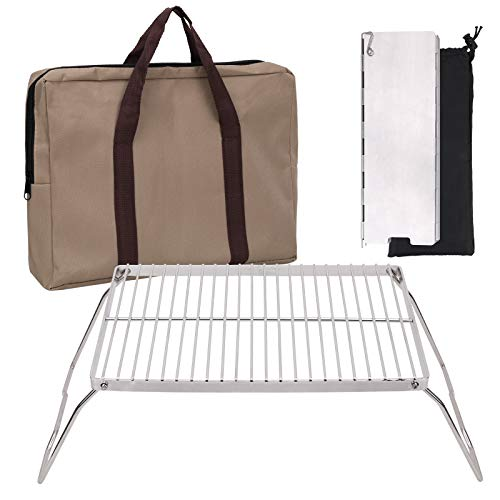 Camping Grill 304 Stainless Steel Grate, Folding Campfire Grill Portable Heavy Duty Grill with Legs Folding Camping Stove Windscreen and Carrying Bag