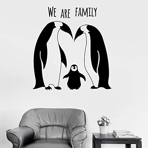 Pingüino pegatinas de pared somos texto familiar animales lindos habitación de los niños sala de estar decoración del hogar vinilo ventana pegatina mural