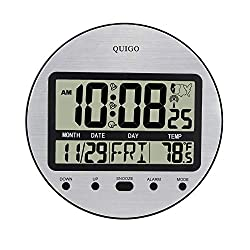 QUIGO Atomic Digital Wall Clock Battery Operated Alarm Large Display Desk Table Bedside Bedroom Bathroom Kitchen Office Round 9.5(Black)