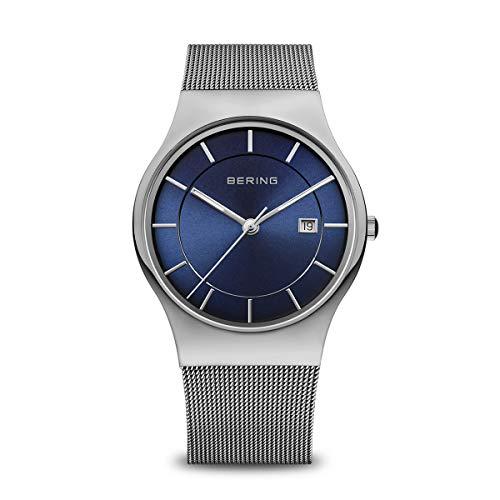 Bering Herren Analog Quarz Uhr mit Edelstahl Armband 11938-003