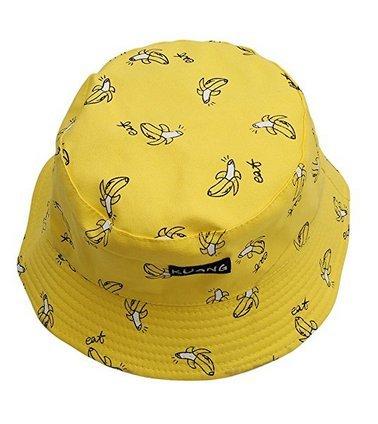J*myi Doppelseitige Bananen-Chips Hut Vintage Segeltuch Fischerhut Damen Sonnenhut, gelb