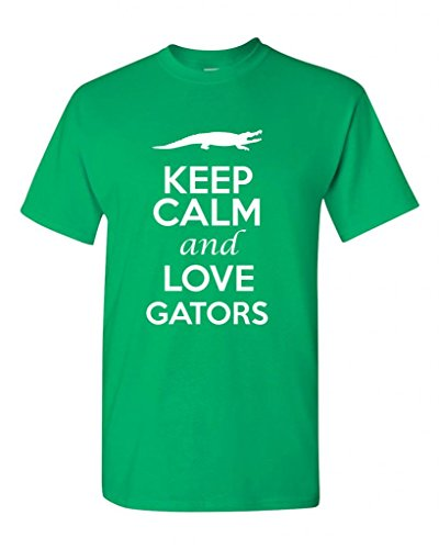 Keep Calm and Love Gators Animals Novelty Statement Unisex Adult T-Shirt Tee (Large, Irish Green)