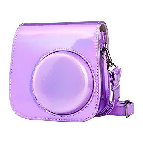 Cpano Mini Borsa per fotocamera in pelle PU per Fujifilm Instax Mini 11 Mini 9 Mini 8  fotocamera a pellicola istantanea, con tracolla regolabile. (Viola brillante)